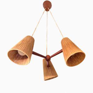 Mid-Century Danish Teak & Rope Ceiling Lamp, 1960s
