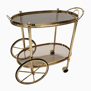 Italian Brass & Smoked Glass Bar Cart, 1980s