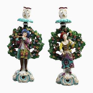 Antike Bocagefiguren mit Kerzenständer aus Porzellan, 1880er, 2er Set