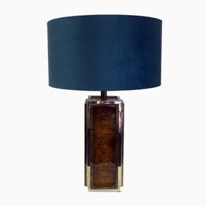 Table Lamp in Burl Wood, Brass, & Chrome, 1970s