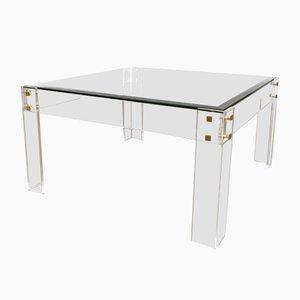 Table Basse en Plexiglas et Laiton, 1980s