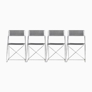 Minimalist Metal X-Line Chairs by Niels Jørgen Haugesen for Hybodan, 1970s, Set of 4
