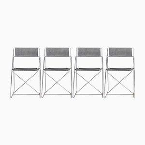 Sillas X-Line minimalistas de metal de Niels Jørgen Haugesen para Hybodan, años 70. Juego de 4