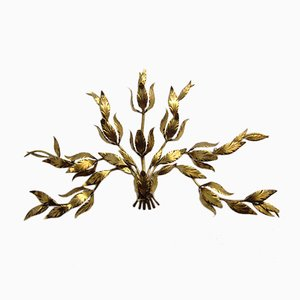 Large Gilded Floral Wall Lamp by Hans Kögl, 1960s