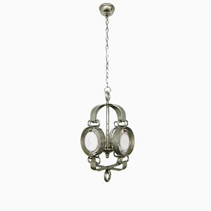 Italian Brutalist Chandelier with Murano Glass Panes, 1970s