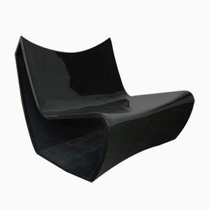 Sedia in plastica nera, anni '70