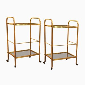 Vintage Brass Side Tables, 1940s, Set of 2