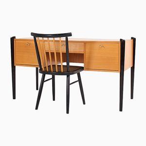 Scrivania vintage con scrivania di Ronicke Sohne Mobelfabrik, anni '50