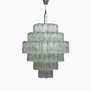 Lámpara colgante grande de cristal de Murano, años 60
