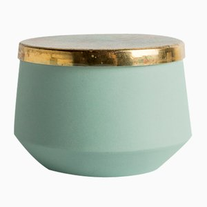Handcrafted Porcelain Jar with Brass Lid by Anna Diekmann