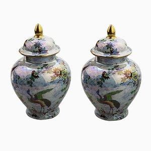 Vasi dipinti a mano di A.G. Harley Jones per Wilter Ware, 1923, set di 2