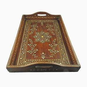 Antique Indian Inlaid Serving Tray, 1880s