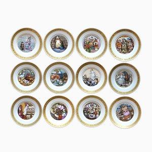 Assiettes Conte de Fées Hans Christian Andersen par Pauline Ellison pour Royal Copenhagen, 1970s, Set de 12