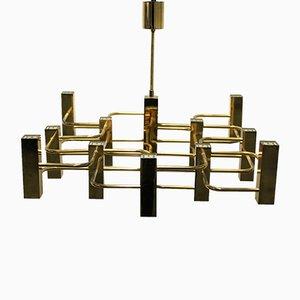 Lámpara de araña Mid-Century de trece luces de Gaetano Sciolari para Boulanger