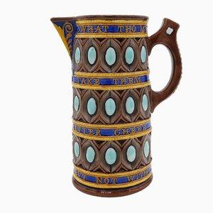 Antiker Keramikkrug von Frederick Bret Russel für Wedgwood Majolica, 1867