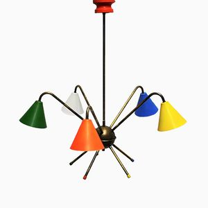 Vintage Italian Multicolored Chandelier, 1950s