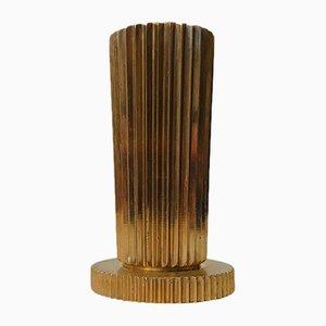 Geriffelte dänische Art Deco Vase aus Bronze von Zinnos, 1930er