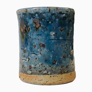 Blau glasierte Steingutvase von Marianne Westman für Rörstrand, 1960er