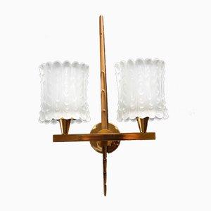 Französische Messing Wandlampe, 1950er