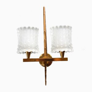 French Brass Double Wall Sconce, 1950s