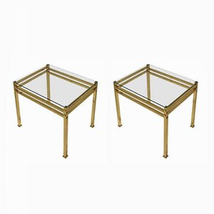 Italian Brass & Glass Side Tables, 1960s, Set of 2