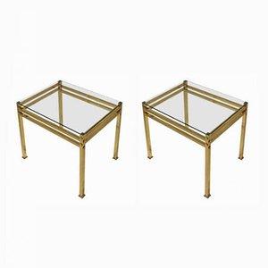 Tavolini in ottone e vetro, anni '60, set di 2