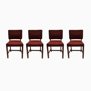Mahogany & Red Fabric Dining Chairs from Fritz Hansen, 1930s, Set of 4