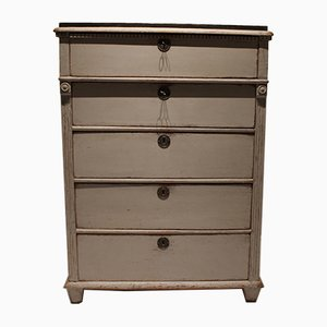 Gustavian Grey Painted Chest of Drawers with Black Top, 1830s