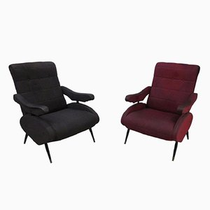 Vintage Oscar Recliner Armchairs by Ello Pini for Novarredo, 1950s, Set of 2