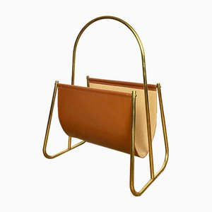 Leather & Brass Magazine Rack by Carl Auböck, 1950s