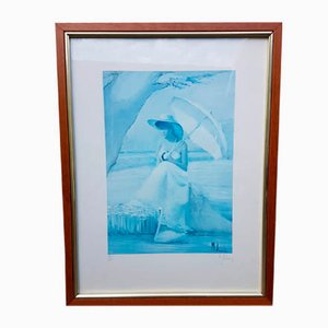 Serigrafía de mujer con sombrilla de Innocenzo Melani, años 70
