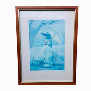 Serigrafia raffigurante una donna con parasole di Innocenzo Melani, anni '70