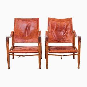 Sedie Safari in pelle marrone di Kaare Klint per Rud Rasmussen, anni '60, set di 2