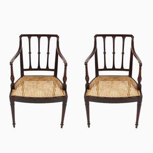 Antike Stühle mit Schilfrohr, 2er Set