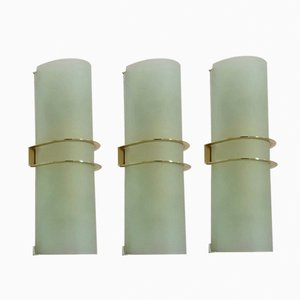Italian Satin Glass Wall Lights, 1960s, Set of 3