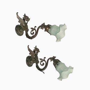 Lámparas de pared esculturales, años 10. Juego de 2