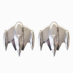 Large Space Age Wall Sconces, 1980s, Set of 2
