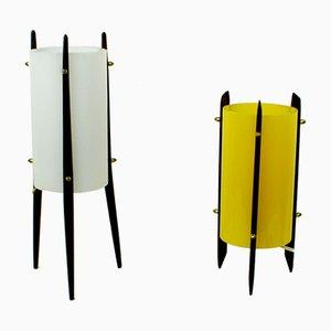 Lámparas de mesa escandinava de teca y plexiglás de Uno & Östen Kristiansson para Luxus, años 60. Juego de 2