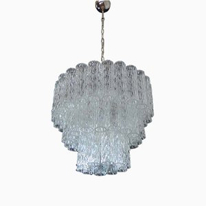 Three-Tier Murano Glass Tube Chandelier, 1979