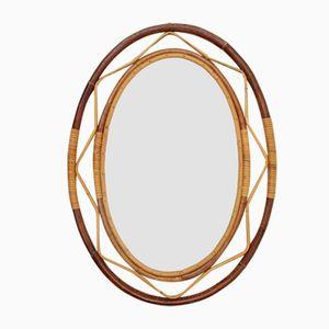 Mid-Century Italian Rattan Mirror, 1960s