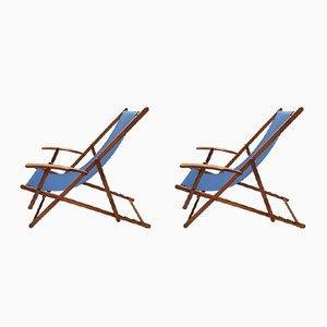 Chaises de Plage Pliantes Vintage en Bois avec Accoudoirs, 1950s, Set de 2