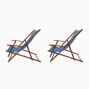 Vintage Wooden Folding Beach Chairs with Armrests, 1950s, Set of 2