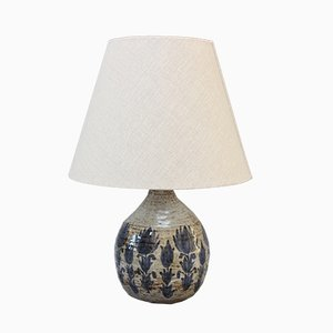 Mid-Century Ceramic Table Lamp with Blue Flower Motif