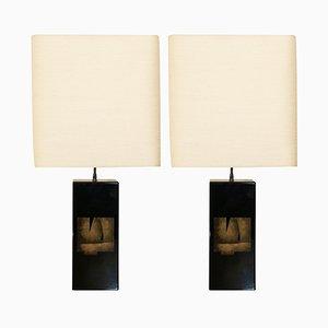 Lampes de Bureau Laquées Noir, 1970s, Set de 2
