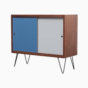 Small Vintage Teak Sideboard with Colored Sliding Doors