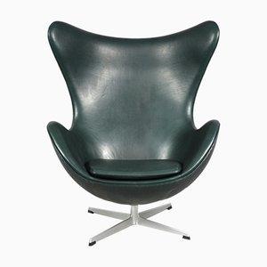Leather Egg Chair by Arne Jacobsen for Fritz Hansen, 1970s