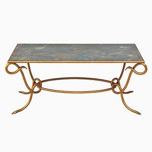 Tavolino da caffè dorato e specchiato di René Drouet, Francia, anni '60