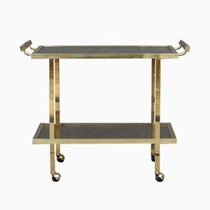 Mid-Century Italian Polished Brass Bar Trolley