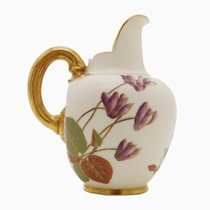 Antique Porcelain Flat Back Blush Ivory Jug from Royal Worcester, 1888