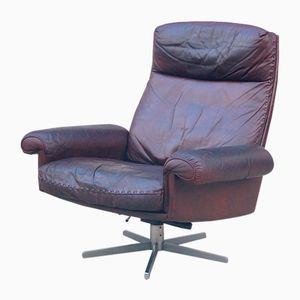 Highback Leather Lounge Chair from de Sede, 1970s